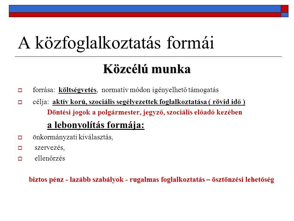 A közfoglalkoztatás formái Közhasznú Munka  forrása: költségvetés (MPA decentralizált foglalkoztatási alaprész)kérelemre  célja: a kérelemben meghatározott, regisztrált álláskeresők, köztük rendszeres szociális segélyezettek foglalkoztatása ( 1-4 ) hónap döntés előkészítés Régiós Munkaügyi Tanácsban, a döntés főigazgatói kézben a lebonyolítás formája:  Önkormányzati, igazgatási, gazdálkodószervezeti szervezés  Munakügyi Központ közvetít  Számszaki ellenőrzés célorientált, 10-30 % önrész, szervezés, lebonyolítás terhe az igénylőé