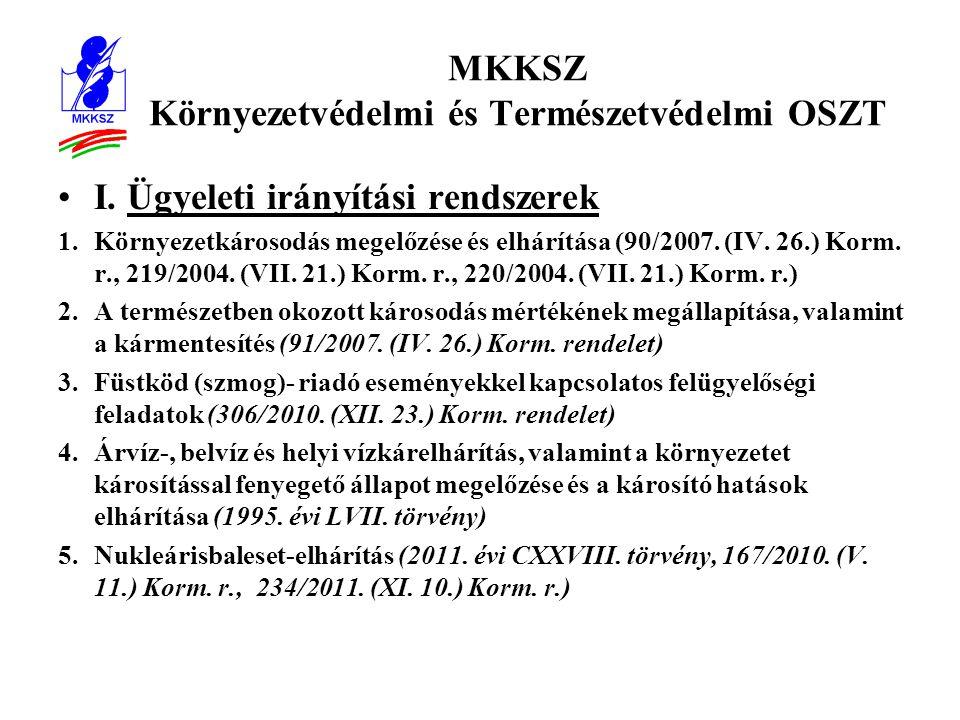 MKKSZ Környezetvédelmi és Természetvédelmi OSZT •I.