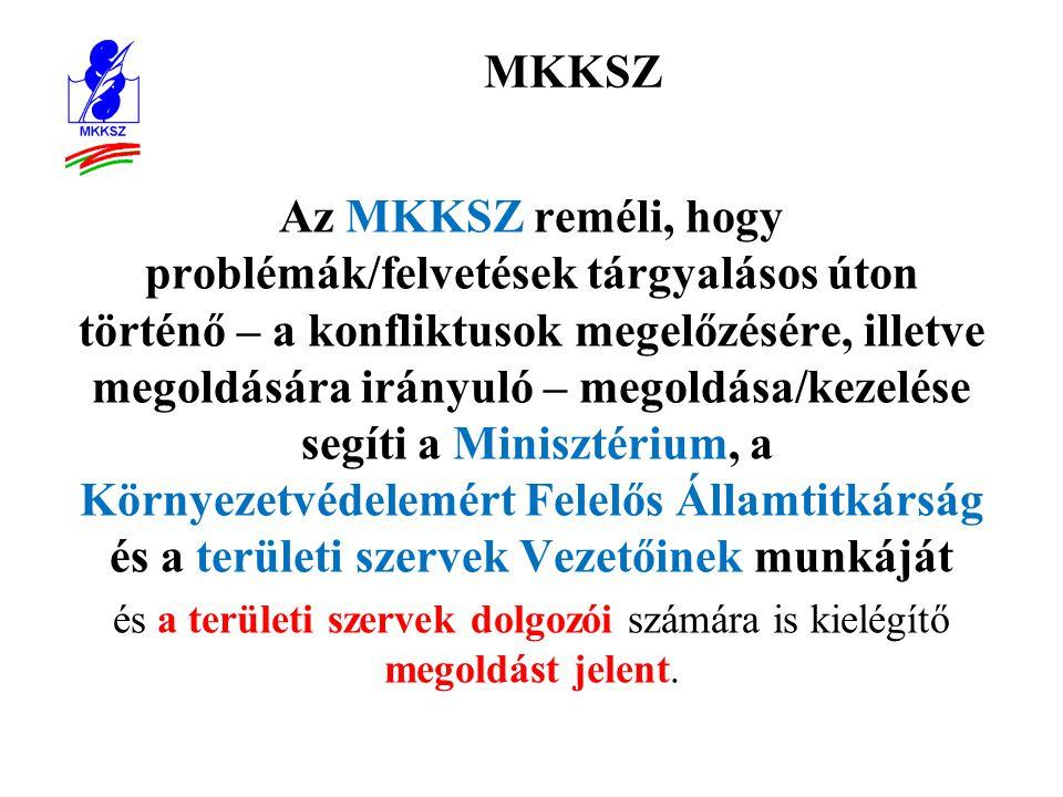 MKKSZ Az MKKSZ reméli, hogy problémák/felvetések tárgyalásos úton történő – a konfliktusok megelőzésére, illetve megoldására irányuló – megoldása/kezelése segíti a Minisztérium, a Környezetvédelemért Felelős Államtitkárság és a területi szervek Vezetőinek munkáját és a területi szervek dolgozói számára is kielégítő megoldást jelent.
