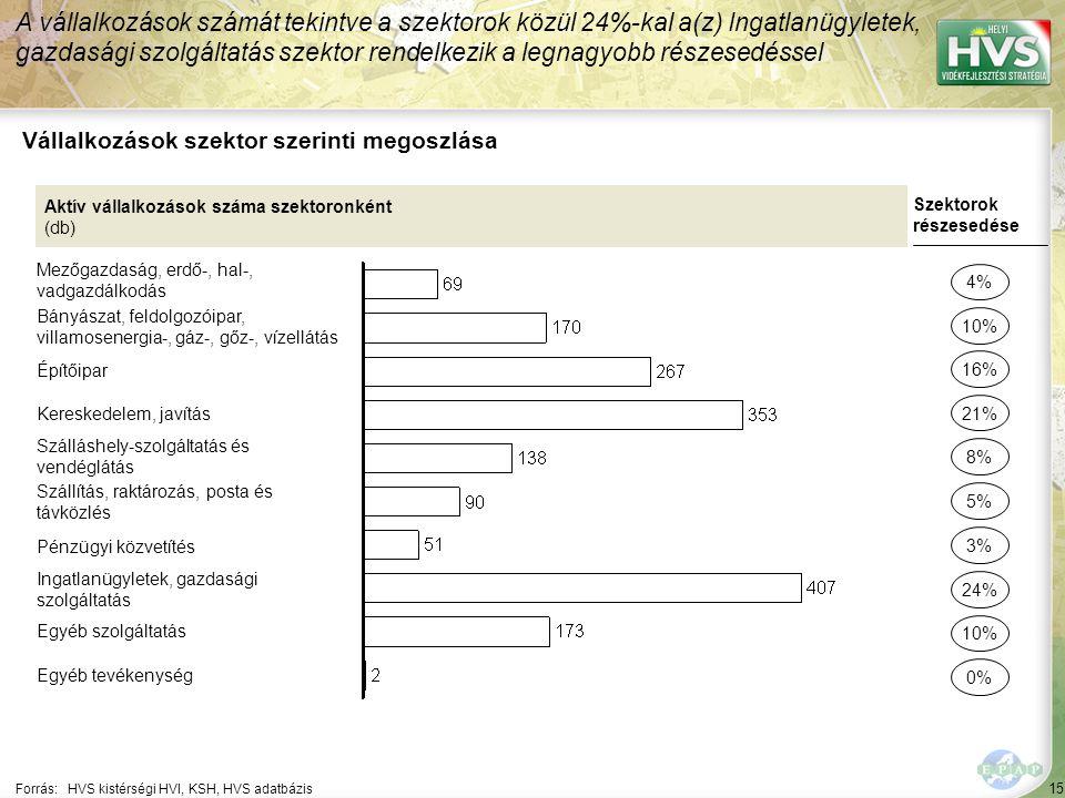 15 Forrás:HVS kistérségi HVI, KSH, HVS adatbázis Vállalkozások szektor szerinti megoszlása A vállalkozások számát tekintve a szektorok közül 24%-kal a(z) Ingatlanügyletek, gazdasági szolgáltatás szektor rendelkezik a legnagyobb részesedéssel Aktív vállalkozások száma szektoronként (db) Mezőgazdaság, erdő-, hal-, vadgazdálkodás Bányászat, feldolgozóipar, villamosenergia-, gáz-, gőz-, vízellátás Építőipar Kereskedelem, javítás Szálláshely-szolgáltatás és vendéglátás Szállítás, raktározás, posta és távközlés Pénzügyi közvetítés Ingatlanügyletek, gazdasági szolgáltatás Egyéb szolgáltatás Egyéb tevékenység Szektorok részesedése 4% 10% 21% 8% 5% 24% 10% 0% 16% 3%
