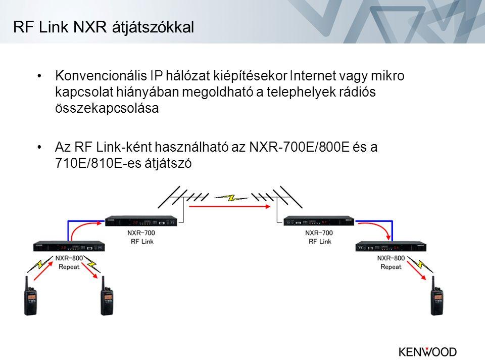 RF Link NXR átjátszókkal •Konvencionális IP hálózat kiépítésekor Internet vagy mikro kapcsolat hiányában megoldható a telephelyek rádiós összekapcsolása •Az RF Link-ként használható az NXR-700E/800E és a 710E/810E-es átjátszó