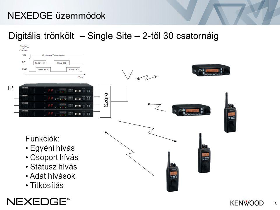 NEXEDGE üzemmódok 16 Digitális trönkölt – Single Site – 2-től 30 csatornáig IP Funkciók: • Egyéni hívás • Csoport hívás • Státusz hívás • Adat hívások