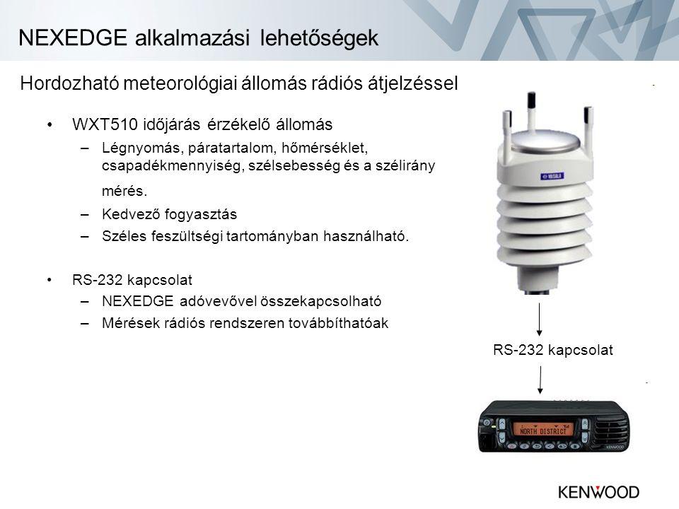 NEXEDGE alkalmazási lehetőségek •WXT510 időjárás érzékelő állomás –Légnyomás, páratartalom, hőmérséklet, csapadékmennyiség, szélsebesség és a szélirán