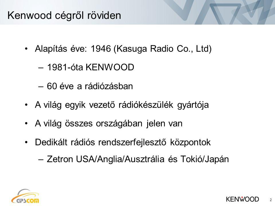 Kenwood cégről röviden 2 •Alapítás éve: 1946 (Kasuga Radio Co., Ltd) –1981-óta KENWOOD –60 éve a rádiózásban •A világ egyik vezető rádiókészülék gyártója •A világ összes országában jelen van •Dedikált rádiós rendszerfejlesztő központok –Zetron USA/Anglia/Ausztrália és Tokió/Japán