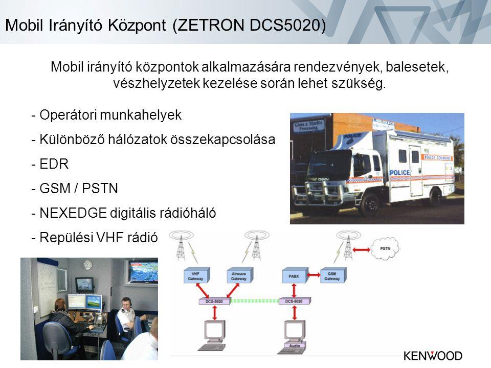 Mobil Irányító Központ (ZETRON DCS5020) Mobil irányító központok alkalmazására rendezvények, balesetek, vészhelyzetek kezelése során lehet szükség.