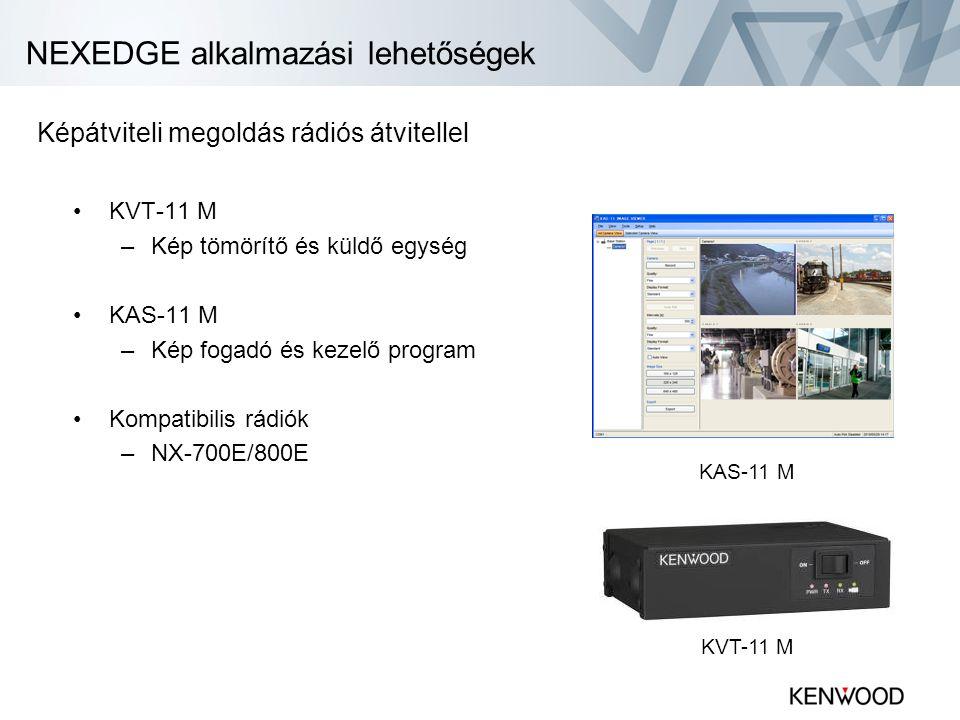 NEXEDGE alkalmazási lehetőségek •KVT-11 M –Kép tömörítő és küldő egység •KAS-11 M –Kép fogadó és kezelő program •Kompatibilis rádiók –NX-700E/800E KAS-11 M KVT-11 M Képátviteli megoldás rádiós átvitellel