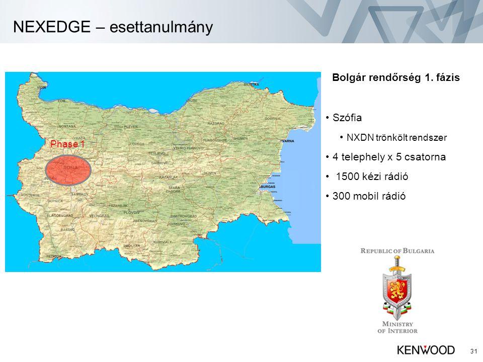 NEXEDGE – esettanulmány 31 Bolgár rendőrség 1. fázis • Szófia • NXDN trönkölt rendszer • 4 telephely x 5 csatorna • 1500 kézi rádió • 300 mobil rádió