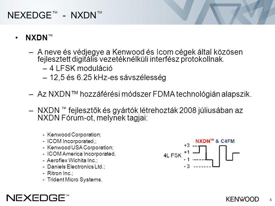 6 •NXDN ™ –A neve és védjegye a Kenwood és Icom cégek által közösen fejlesztett digitális vezetéknélküli interfész protokollnak. –4 LFSK moduláció –12