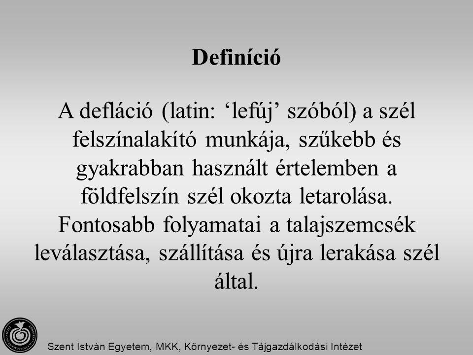 Definíció A defláció (latin: 'lefúj' szóból) a szél felszínalakító munkája, szűkebb és gyakrabban használt értelemben a földfelszín szél okozta letaro