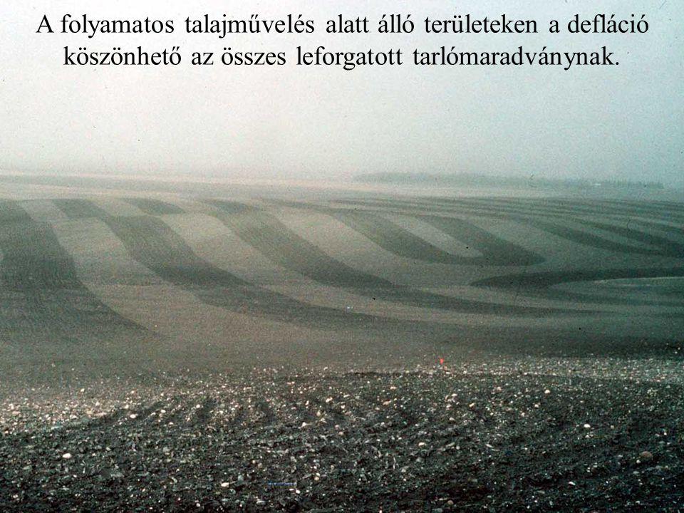 A folyamatos talajművelés alatt álló területeken a defláció köszönhető az összes leforgatott tarlómaradványnak.