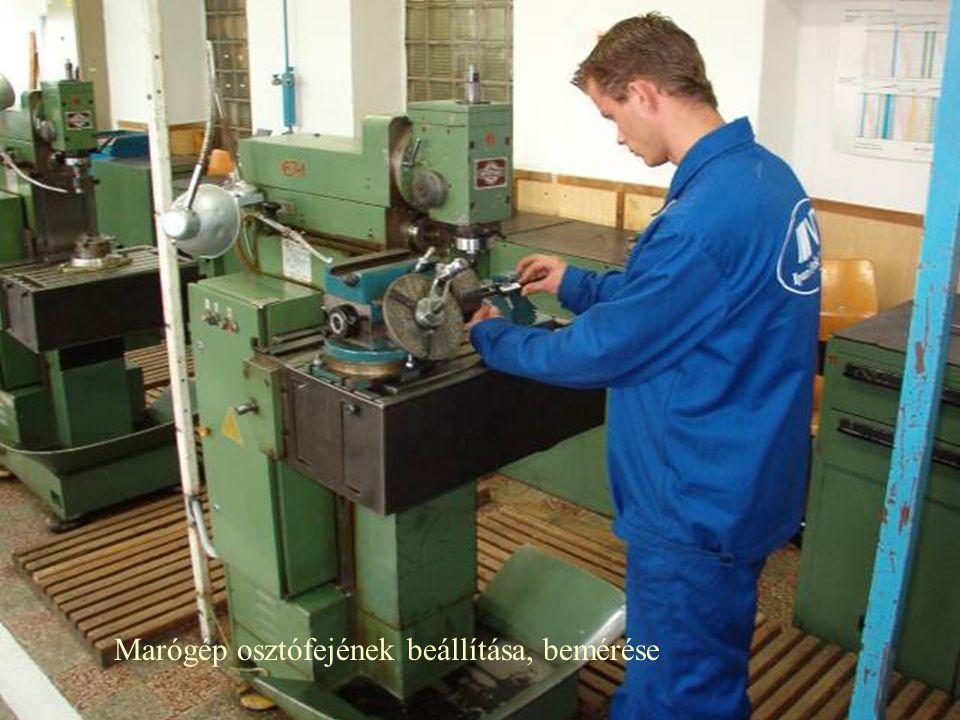 Marógép osztófejének beállítása, bemérése