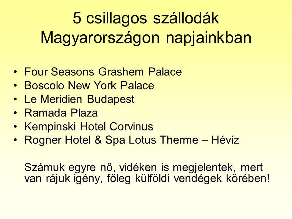 5 csillagos szállodák Magyarországon napjainkban •Four Seasons Grashem Palace •Boscolo New York Palace •Le Meridien Budapest •Ramada Plaza •Kempinski