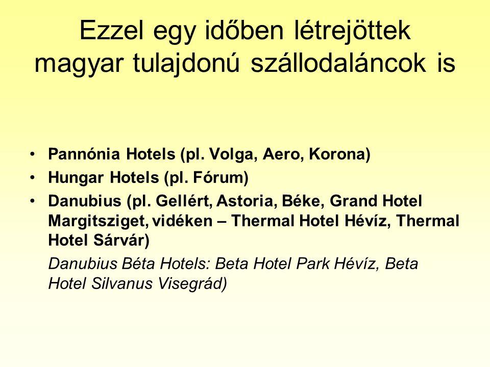 Ezzel egy időben létrejöttek magyar tulajdonú szállodaláncok is •Pannónia Hotels (pl. Volga, Aero, Korona) •Hungar Hotels (pl. Fórum) •Danubius (pl. G