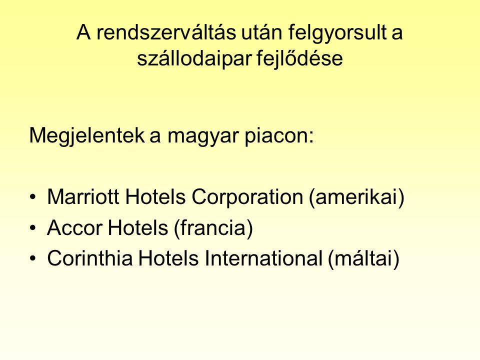 A rendszerváltás után felgyorsult a szállodaipar fejlődése Megjelentek a magyar piacon: •Marriott Hotels Corporation (amerikai) •Accor Hotels (francia