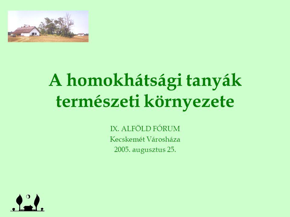 A homokhátsági tanyák természeti környezete IX. ALFÖLD FÓRUM Kecskemét Városháza 2005.