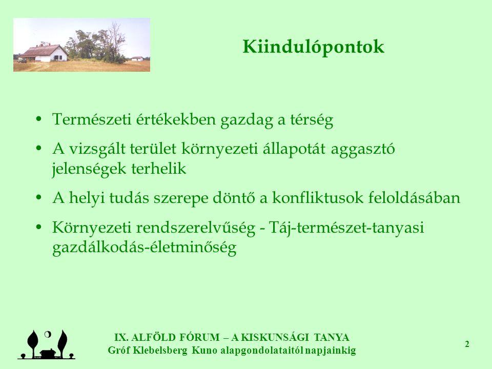 IX. ALFÖLD FÓRUM – A KISKUNSÁGI TANYA Gróf Klebelsberg Kuno alapgondolataitól napjainkig 2 Kiindulópontok •Természeti értékekben gazdag a térség •A vi