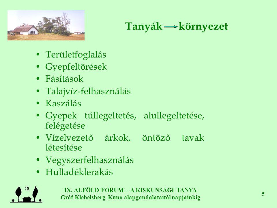 IX. ALFÖLD FÓRUM – A KISKUNSÁGI TANYA Gróf Klebelsberg Kuno alapgondolataitól napjainkig 5 Tanyák környezet •Területfoglalás •Gyepfeltörések •Fásításo