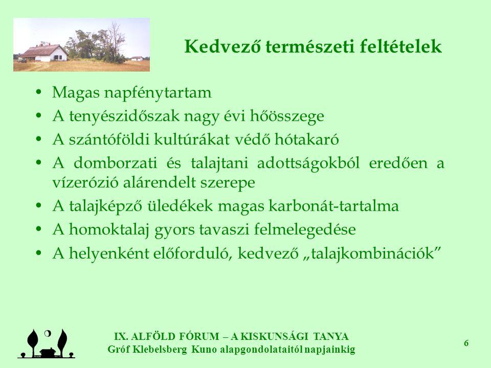 IX. ALFÖLD FÓRUM – A KISKUNSÁGI TANYA Gróf Klebelsberg Kuno alapgondolataitól napjainkig 6 Kedvező természeti feltételek •Magas napfénytartam •A tenyé