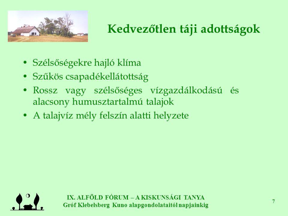 IX. ALFÖLD FÓRUM – A KISKUNSÁGI TANYA Gróf Klebelsberg Kuno alapgondolataitól napjainkig 7 Kedvezőtlen táji adottságok •Szélsőségekre hajló klíma •Szű