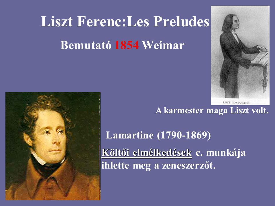 Művei:h-moll szonáta Magyar rapszódiák Faust-szimfónia Hungaria Esztergomi mise Les Preludes Esz-dúr zong.verseny Dante-szimfónia Prometheus XV.