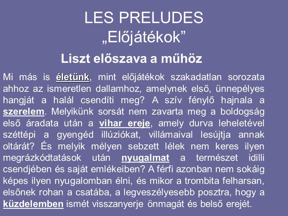 Liszt Ferenc:Les Preludes Bemutató 1854 Weimar A karmester maga Liszt volt. Lamartine (1790-1869) Költői elmélkedések Költői elmélkedések c. munkája i