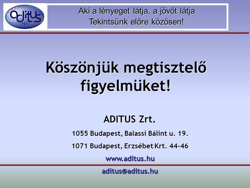 Aki a lényeget látja, a jövőt látja Tekintsünk előre közösen! Köszönjük megtisztelő figyelmüket! ADITUS Zrt. 1055 Budapest, Balassi Bálint u. 19. 1071