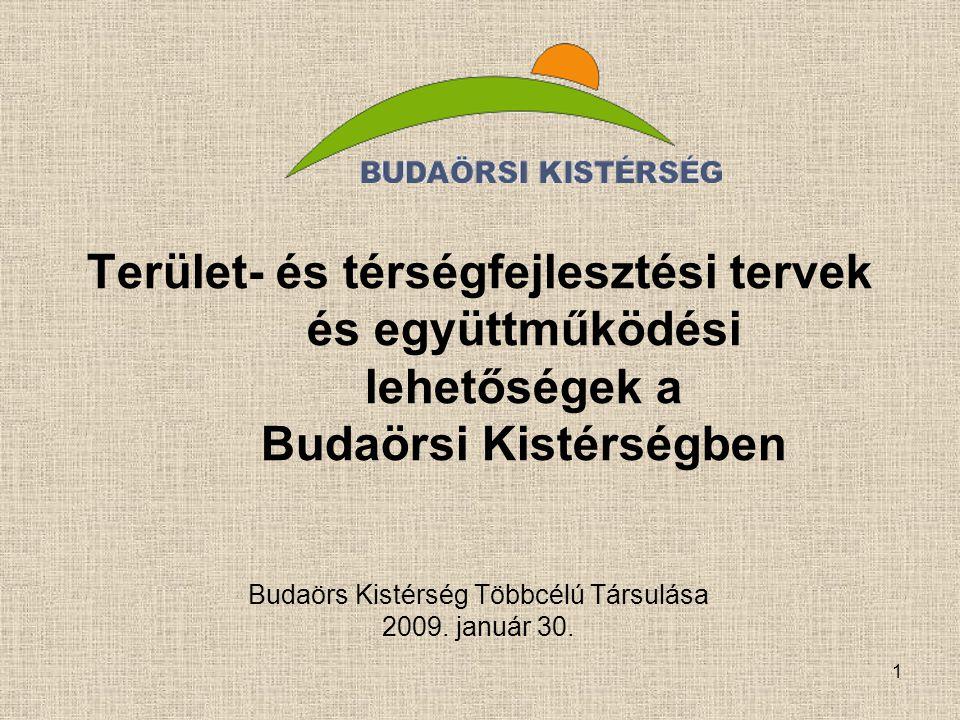 1 Terület- és térségfejlesztési tervek és együttműködési lehetőségek a Budaörsi Kistérségben Budaörs Kistérség Többcélú Társulása 2009. január 30.