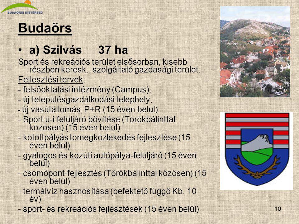 10 Budaörs •a) Szilvás 37 ha Sport és rekreációs terület elsősorban, kisebb részben keresk., szolgáltató gazdasági terület. Fejlesztési tervek: - fels