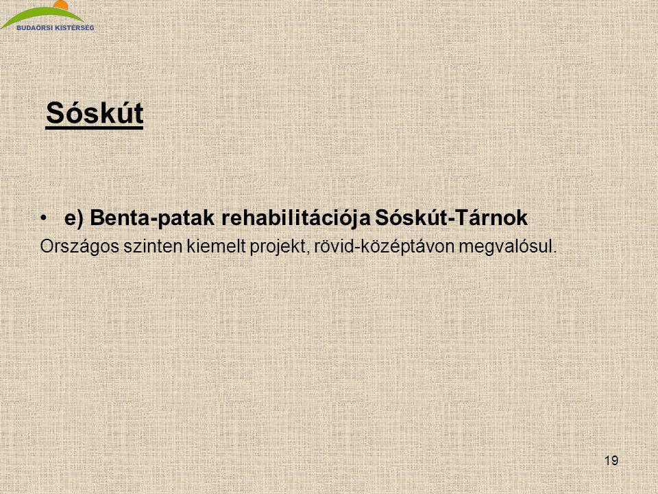 19 Sóskút •e) Benta-patak rehabilitációja Sóskút-Tárnok Országos szinten kiemelt projekt, rövid-középtávon megvalósul.