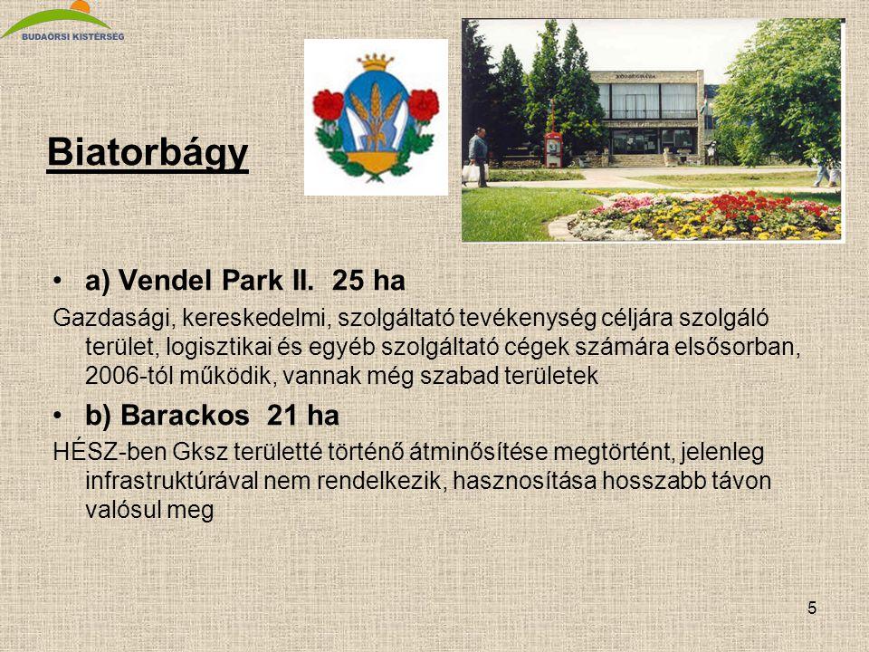 5 Biatorbágy •a) Vendel Park II. 25 ha Gazdasági, kereskedelmi, szolgáltató tevékenység céljára szolgáló terület, logisztikai és egyéb szolgáltató cég