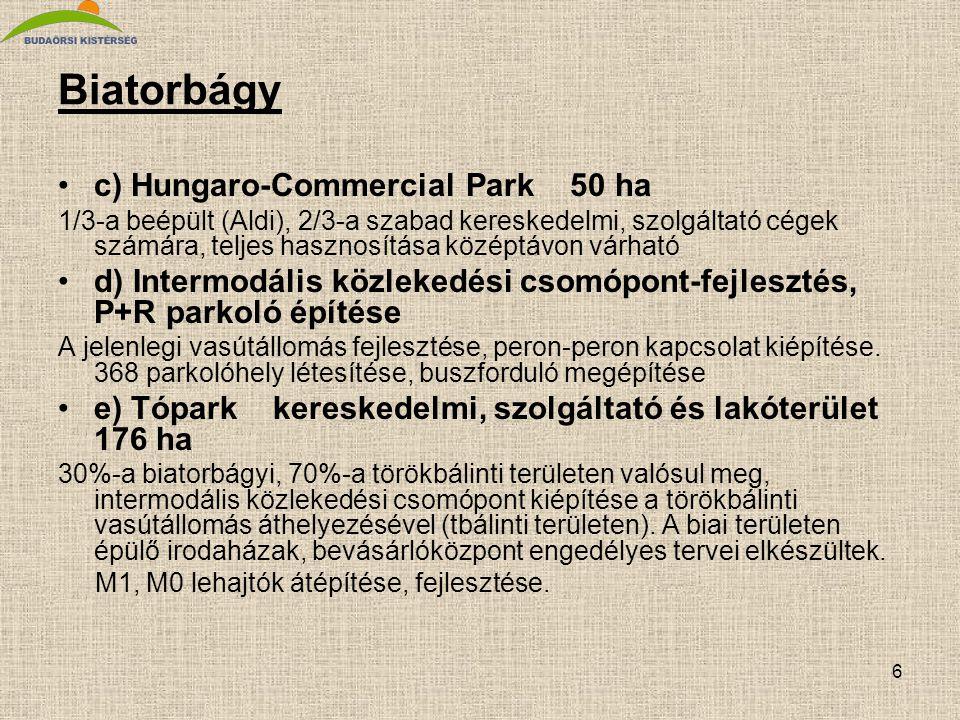 6 Biatorbágy •c) Hungaro-Commercial Park 50 ha 1/3-a beépült (Aldi), 2/3-a szabad kereskedelmi, szolgáltató cégek számára, teljes hasznosítása középtá