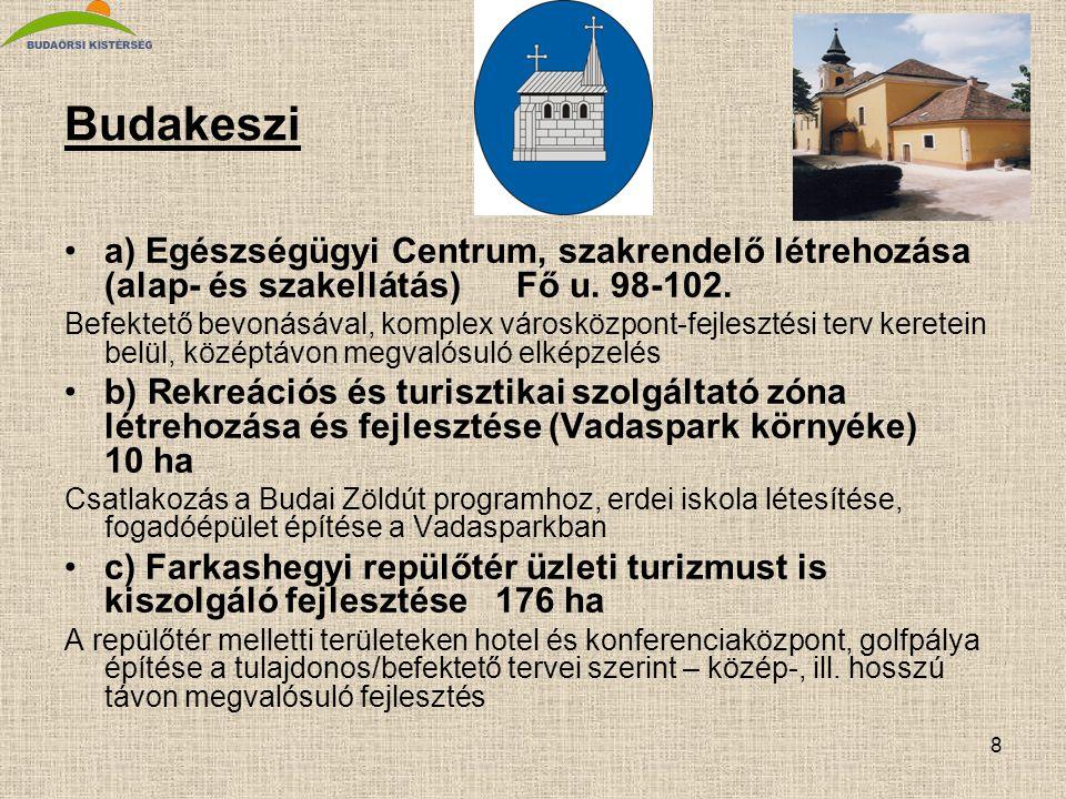 8 Budakeszi •a) Egészségügyi Centrum, szakrendelő létrehozása (alap- és szakellátás) Fő u. 98-102. Befektető bevonásával, komplex városközpont-fejlesz