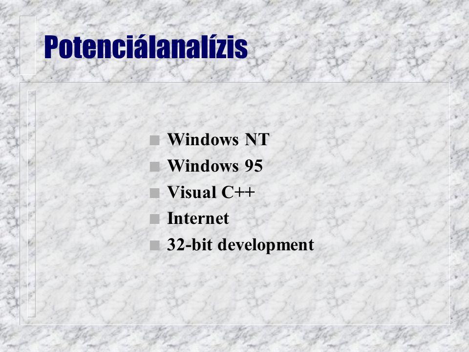 n Windows NT n Windows 95 n Visual C++ n Internet n 32-bit development Potenciálanalízis