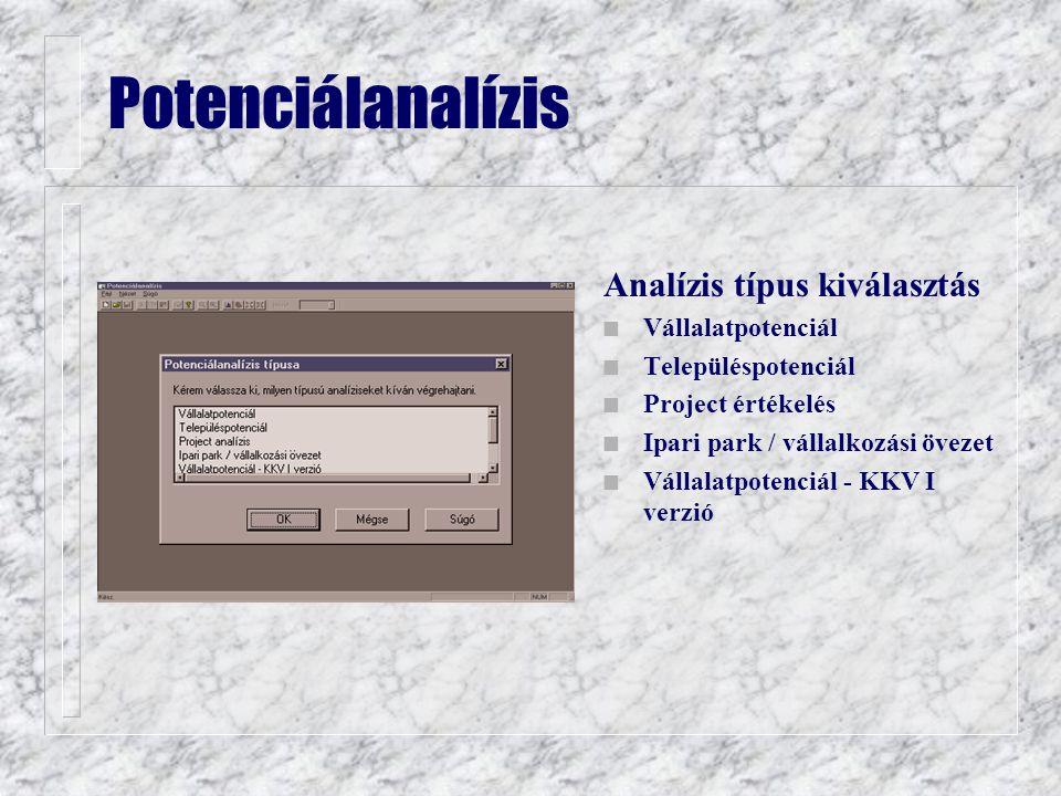 Analízis típus kiválasztás n Vállalatpotenciál n Településpotenciál n Project értékelés n Ipari park / vállalkozási övezet n Vállalatpotenciál - KKV I verzió