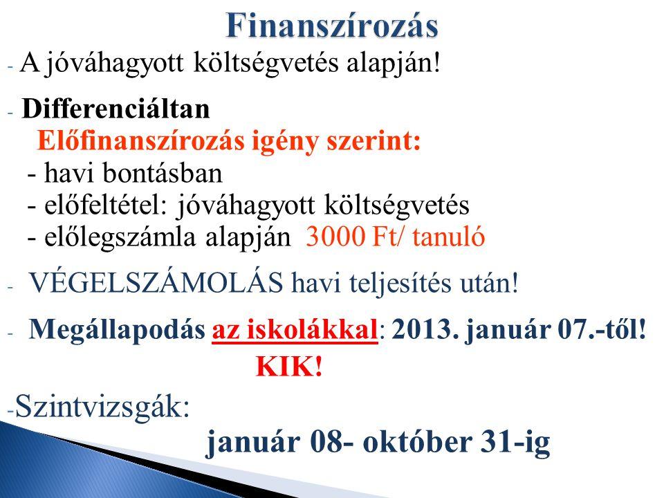 - A jóváhagyott költségvetés alapján! - Differenciáltan Előfinanszírozás igény szerint: - havi bontásban - előfeltétel: jóváhagyott költségvetés - elő
