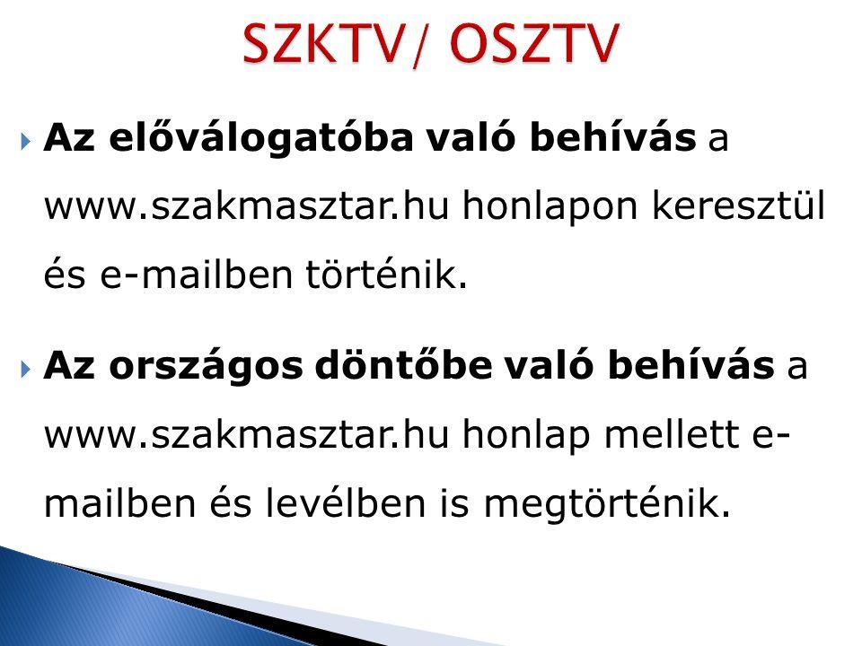  Az előválogatóba való behívás a www.szakmasztar.hu honlapon keresztül és e-mailben történik.  Az országos döntőbe való behívás a www.szakmasztar.hu