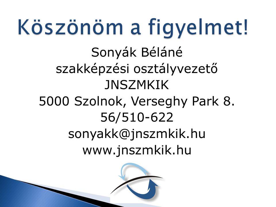 Sonyák Béláné szakképzési osztályvezető JNSZMKIK 5000 Szolnok, Verseghy Park 8. 56/510-622 sonyakk@jnszmkik.hu www.jnszmkik.hu