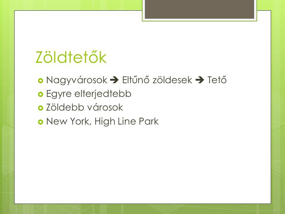 Zöldtetők  Nagyvárosok  Eltűnő zöldesek  Tető  Egyre elterjedtebb  Zöldebb városok  New York, High Line Park