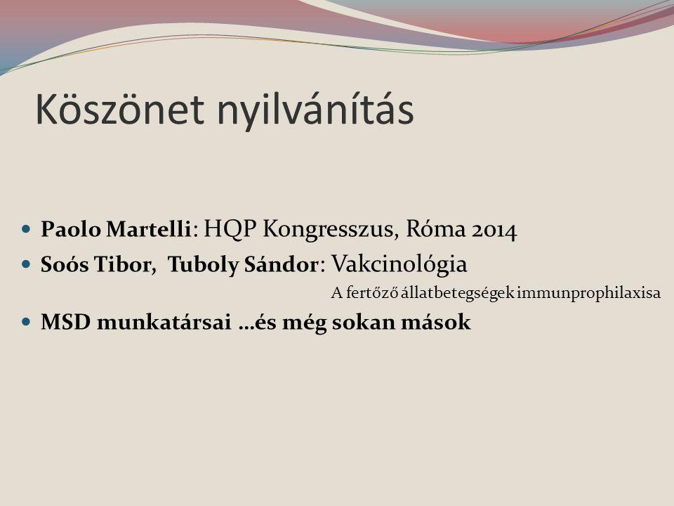 Köszönet nyilvánítás  Paolo Martelli : HQP Kongresszus, Róma 2014  Soós Tibor, Tuboly Sándor : Vakcinológia A fertőző állatbetegségek immunprophilaxisa  MSD munkatársai …és még sokan mások