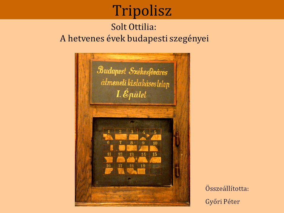 """Tripolisz """"A következő fázist a Fővárosi Pedagógiai Intézet égisze alatt csináltuk, ahol Solt Ottília nem sokkal azelőtt helyezkedett el szociológusként."""