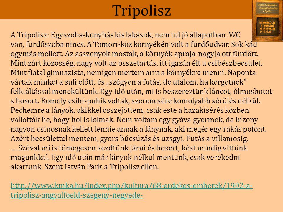 Tripolisz A Tripolisz: Egyszoba-konyhás kis lakások, nem tul jó állapotban.