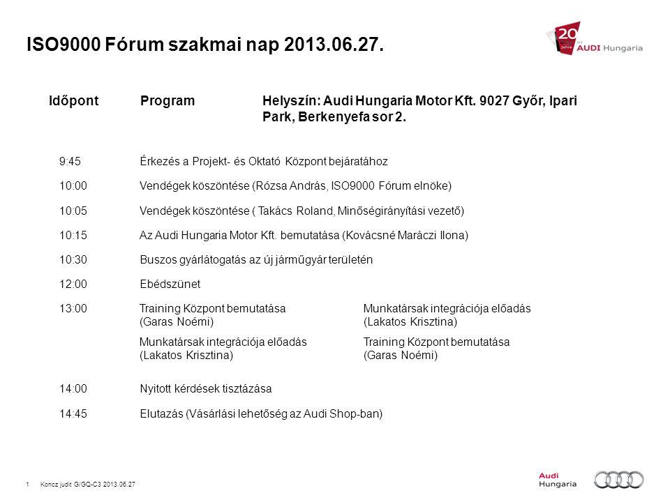 1Koncz judit G/GQ-C3 2013.06.27 ISO9000 Fórum szakmai nap 2013.06.27. 9:45Érkezés a Projekt- és Oktató Központ bejáratához 10:00Vendégek köszöntése (R