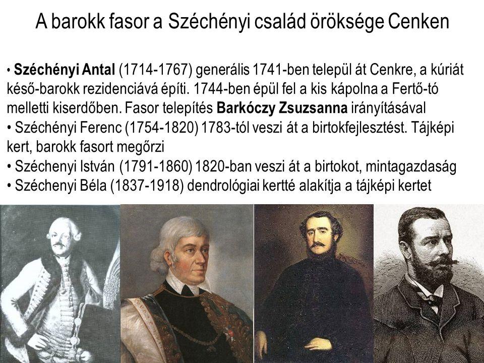 A barokk fasor a Széchényi család öröksége Cenken • Széchényi Antal (1714-1767) generális 1741-ben települ át Cenkre, a kúriát késő-barokk rezidenciává építi.