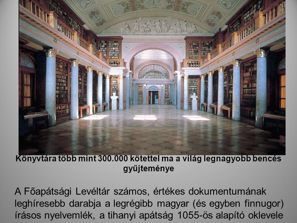 Könyvtára több mint 300.000 kötettel ma a világ legnagyobb bencés gyűjteménye A Főapátsági Levéltár számos, értékes dokumentumának leghíresebb darabja