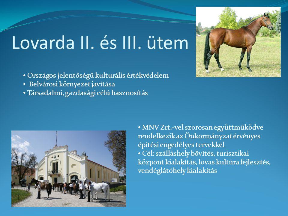 Lovarda II. és III. ütem • Országos jelentőségű kulturális értékvédelem • Belvárosi környezet javítása • Társadalmi, gazdasági célú hasznosítás • MNV