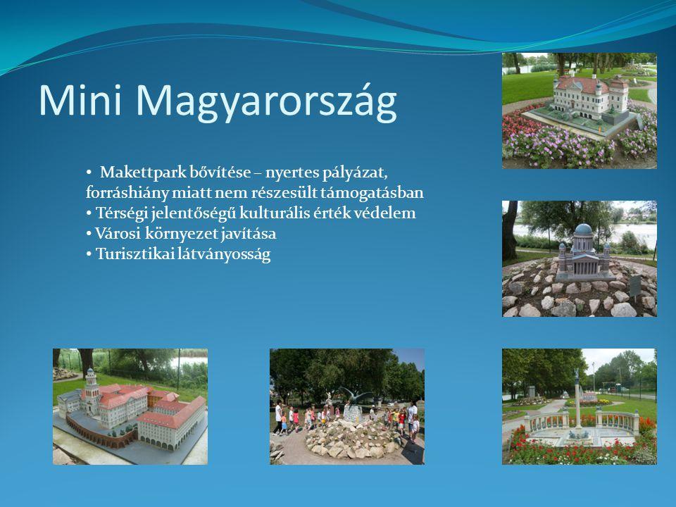 Mini Magyarország • Makettpark bővítése – nyertes pályázat, forráshiány miatt nem részesült támogatásban • Térségi jelentőségű kulturális érték védele