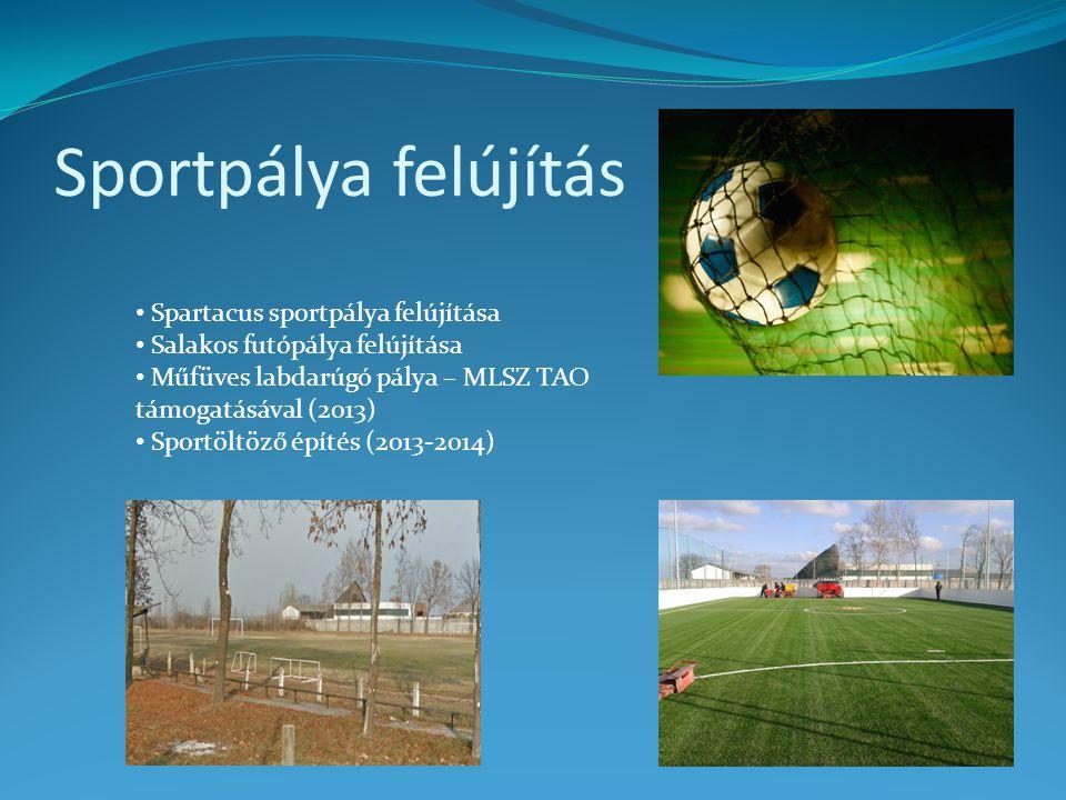 Sportpálya felújítás • Spartacus sportpálya felújítása • Salakos futópálya felújítása • Műfüves labdarúgó pálya – MLSZ TAO támogatásával (2013) • Spor
