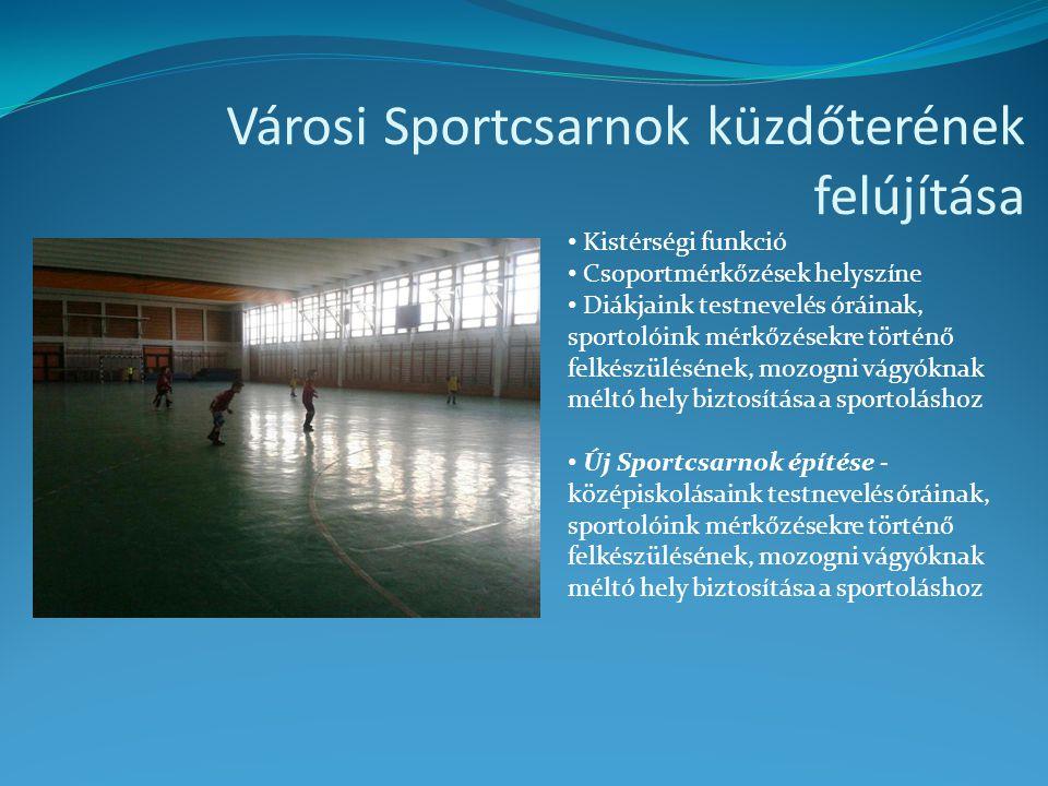 Városi Sportcsarnok küzdőterének felújítása • Kistérségi funkció • Csoportmérkőzések helyszíne • Diákjaink testnevelés óráinak, sportolóink mérkőzések