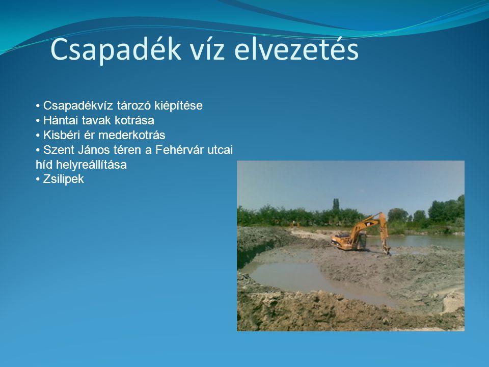 Csapadék víz elvezetés • Csapadékvíz tározó kiépítése • Hántai tavak kotrása • Kisbéri ér mederkotrás • Szent János téren a Fehérvár utcai híd helyreá