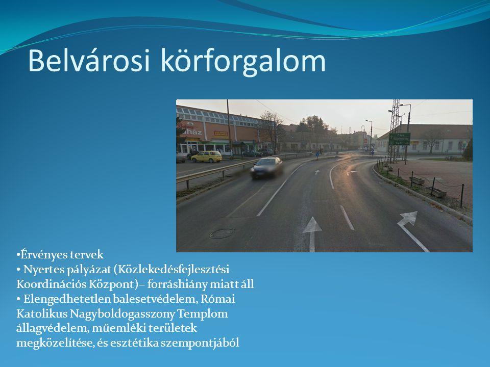 Belvárosi körforgalom • Érvényes tervek • Nyertes pályázat (Közlekedésfejlesztési Koordinációs Központ)– forráshiány miatt áll • Elengedhetetlen bales